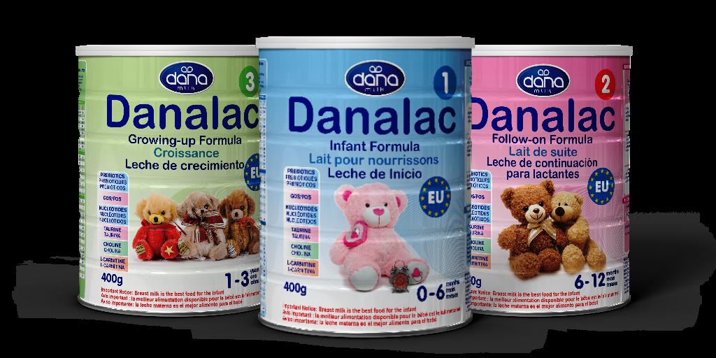 DANALAC Standard Infant Formula leche en polvo para bebés con leche de vaca en tres etapas